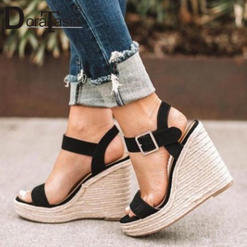 Senhoras rua super cunhas altas sandálias marca palha sola mulheres elegante plataforma rasa sapatos mulher
