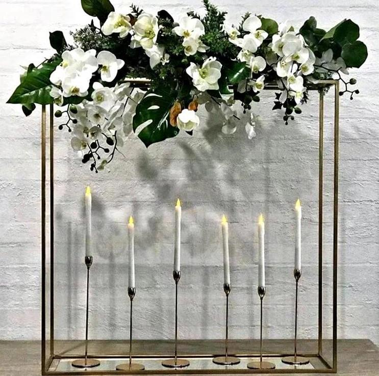 100CM Long Wedding Flower Row Centerpiece Iron Rack Decoration Birthday Party Cake Dessert Holder Table Metal Plinths For Event Stage Backdrops DIY Frame