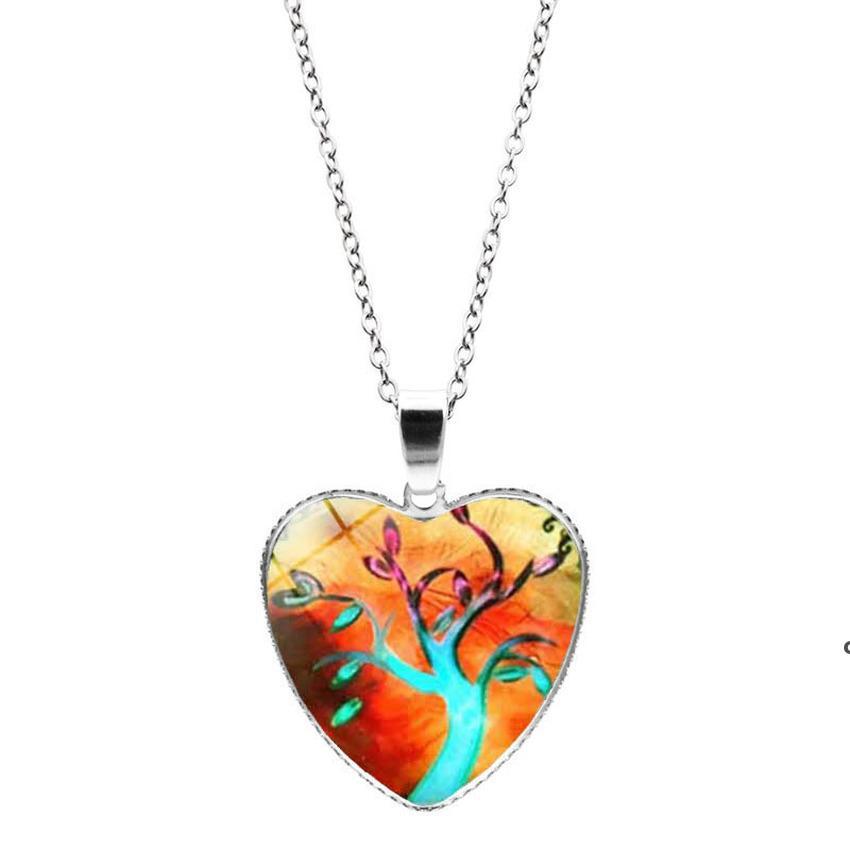 Collana dell'albero della vita Collana in argento Cabina di vetro Cabochon Collane del ciondolo del cuore per le donne Ragazza dei bambini dei bambini Regalo dei monili DHE6911