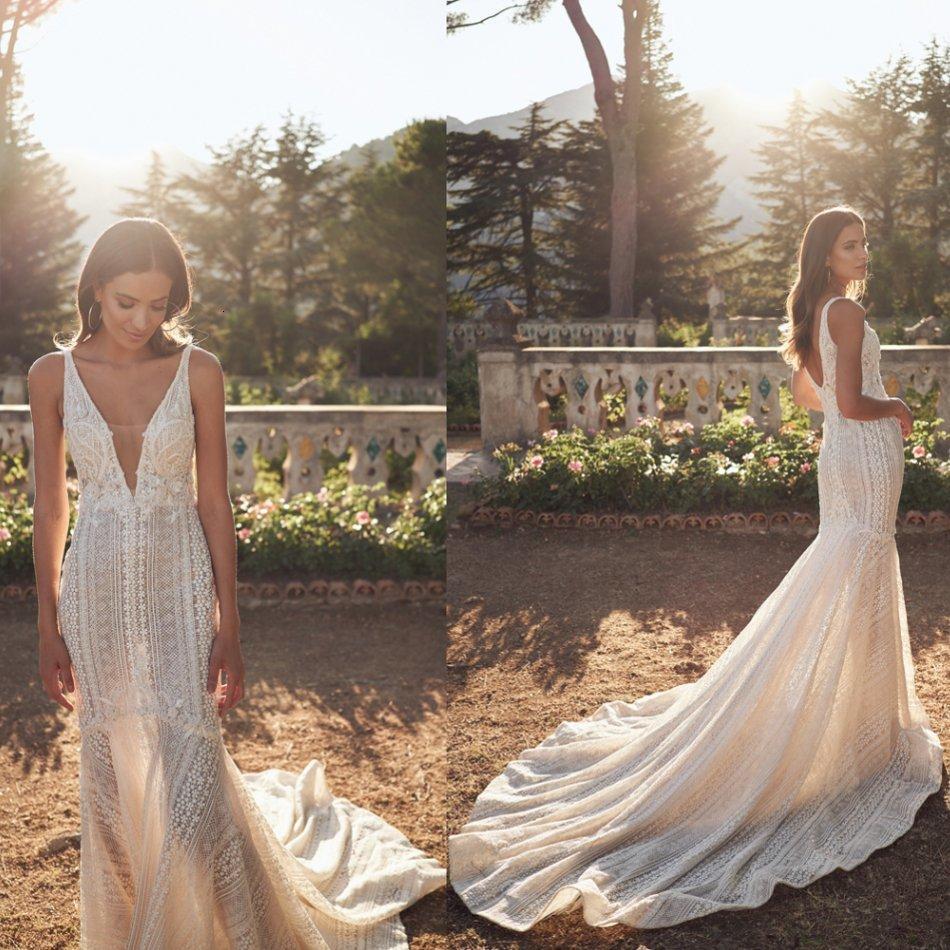 Verträumte Meerjungfrau Brautkleider Kristall Applique Sleeveless Backless Spitze Hochzeitskleid Sweep Zug Vestidos de Novia