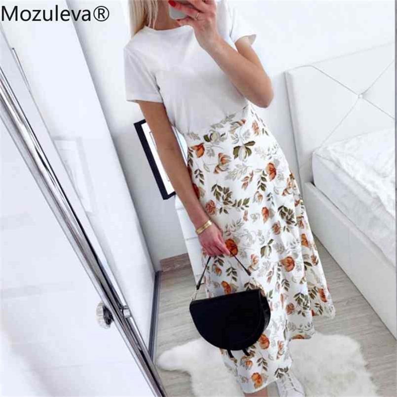 Mozuleva İlkbahar Yaz Yüksek Bel Şifon Kadın MIDI Etekler Rahat Çiçek Baskı Kadın Maxi Beach Tutu Femme 210706