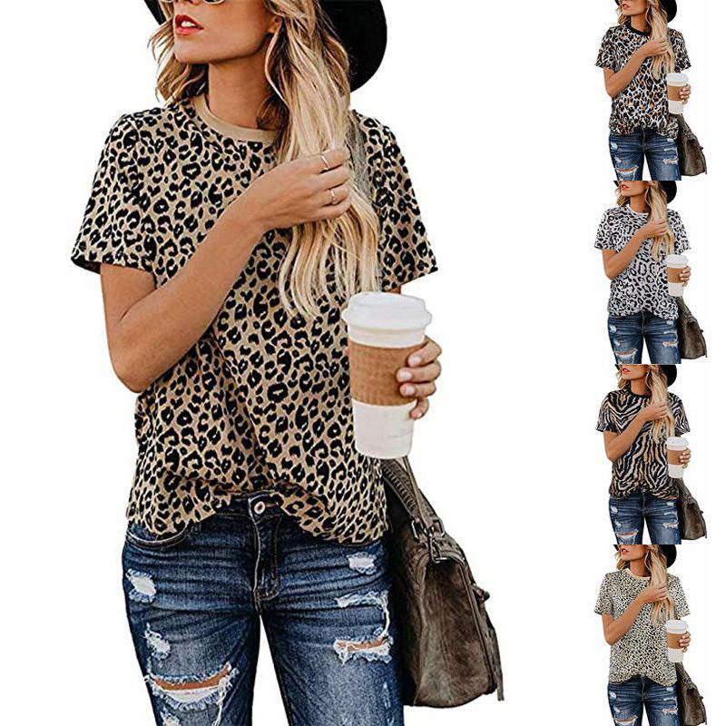 2021 Popular Top Leopard Leopard Print Cuello redondo Camiseta de manga corta