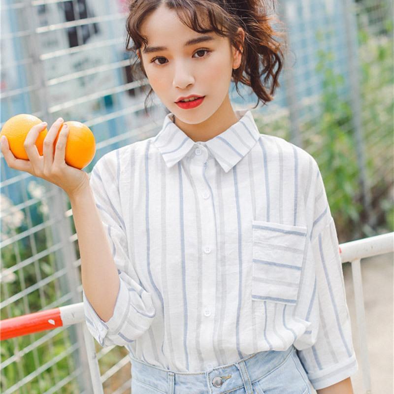 Blusa mujeres verano rayas blousas coreanas sueltas media manga camisas rechazar cuello tops 2021 blusas mujer de moda mujeres