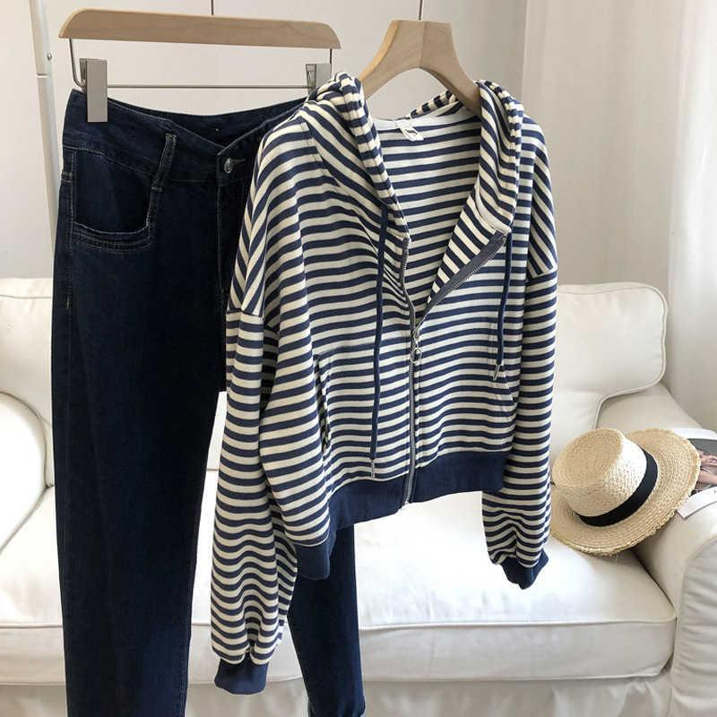 Loose aging black and white striped Hoodie women's early autumn new zipper cardigan Lantern Sleeve slim short top