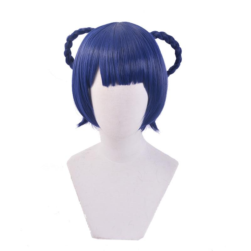 Costume AccessoriesGame Genshin Impact XiangLing Cosplay Wig Dark Blue Short Cosplay Wig Braided Wigs Heat Resistant Synthetic Hair + Wig Ca