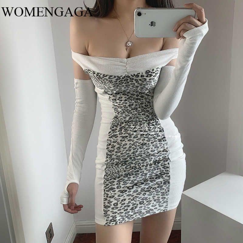 Womengaga Sexy Off-Shoulder Leopard Print Patchwork Nähen Elegante Fashio Slim Hüfte Minikleid Kleider WNL3 210603