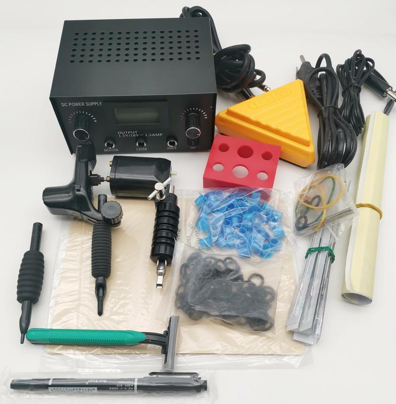 Profesyonel Dövme Silahları Kitleri KT04 2 ADET Siyah Döner Makineleri Tabanca İğneler Çift Dijital Güç Kaynağı Üçgen Ayak Pedalı Termal Kağıt Mürekkep Kapaklar İpuçları Sanatçı için Tavsiyeler