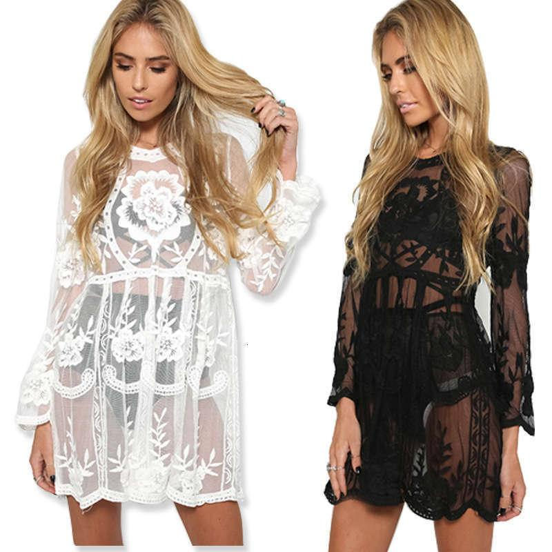 dress beach skirt embroidery Casual trumpet sleeve lace perspective Dresses Bohemian sexy