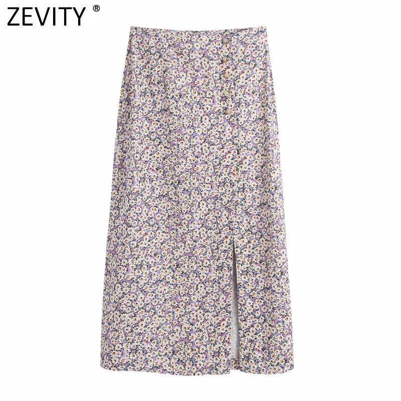Zevity Donne Vintage Stampa floreale Single Breasted Split Purple Gonna Faldas Mujer Francese Stile Francese Femmina Chic Party Vestidos QUN756 Gonne