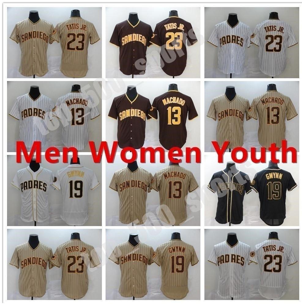 사용자 정의 2021 Padres 남자 여성 청소년 19 Tony Gwynn Jersey San Diego 13 Manny Machado 23 Fernando Tatis Jr. Flex Base Cool Baseball Jerseys