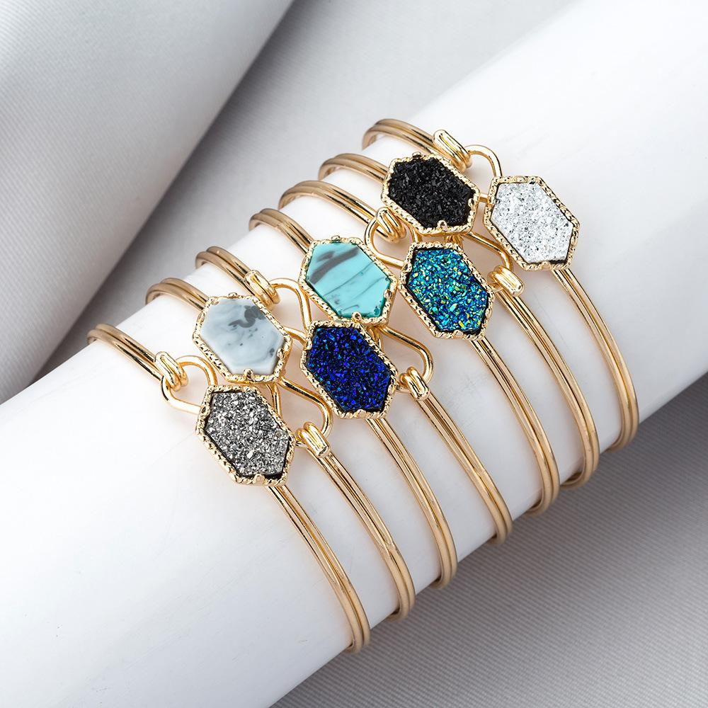 Fashion Woman bangleTurquoise Bracelet Classic Sliver Gold Plated Drusy Faux Stone Bangle Lady Jewelry Party Gift LT-TTA1200bangl
