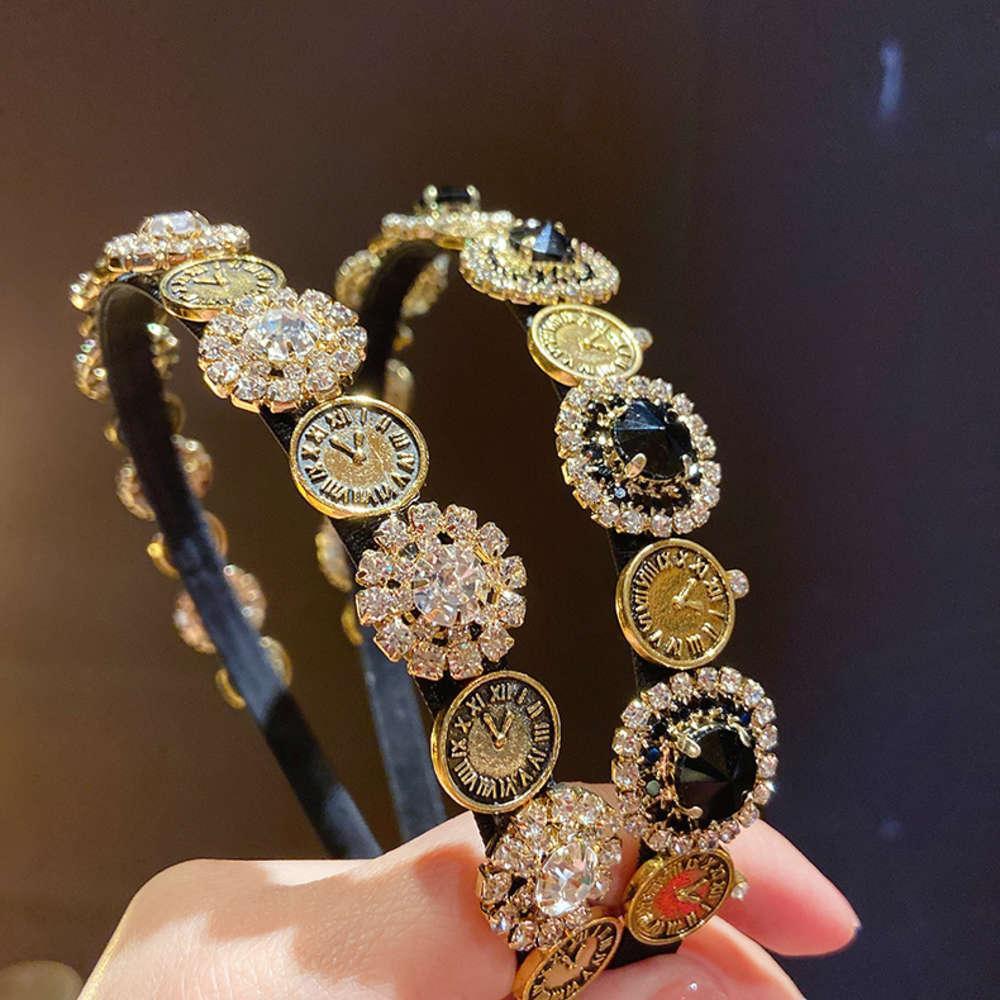 Barock Gericht Stil Uhr Diamant Haarband Französisch Koreanisch Temperament Kopfschmuck Net Infrarot Haarband Stirnband