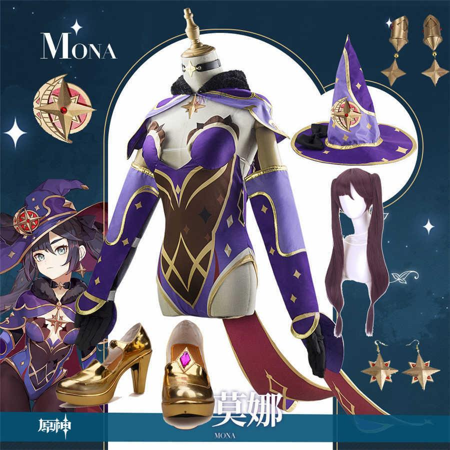 Game Genshin Impact Mona Cosplay Costume Hat Earrings Shoes Anime Wig Women Sexy Halloween Party Dress Body Suit G0913
