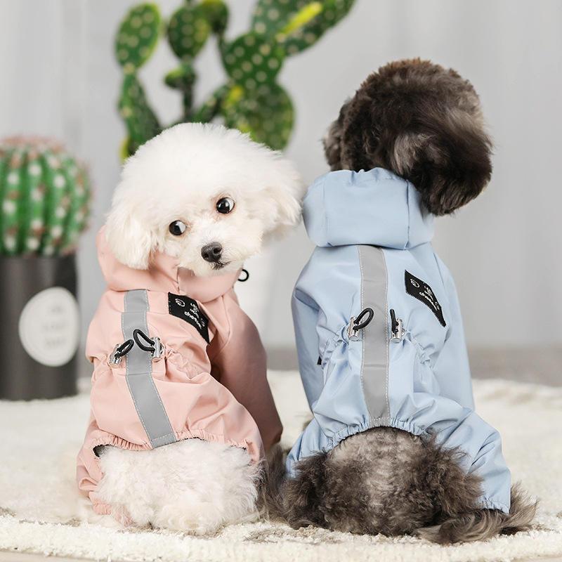 Cachorrinha Roupas Rain Coat À Prova D 'Água 4 Pernas Pet Raincoat Hoodie para Pequeno Cão Médio Animal de estimação Suprimentos Cat Reflexivo Segurança andando