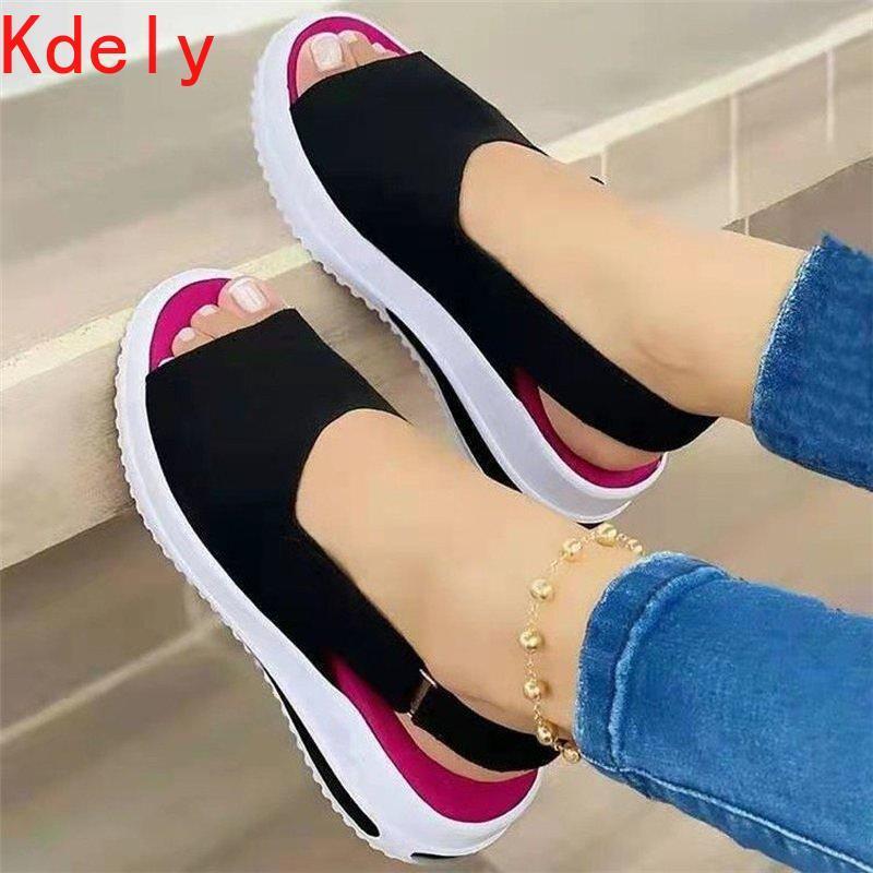 Frauen Schuhe Sommer Pumps Chunky Mid Heels Plus Größe Atmungsaktive Mesh Sneaker Wedges Weibliche Mujer Sapato Feminino Sandalen