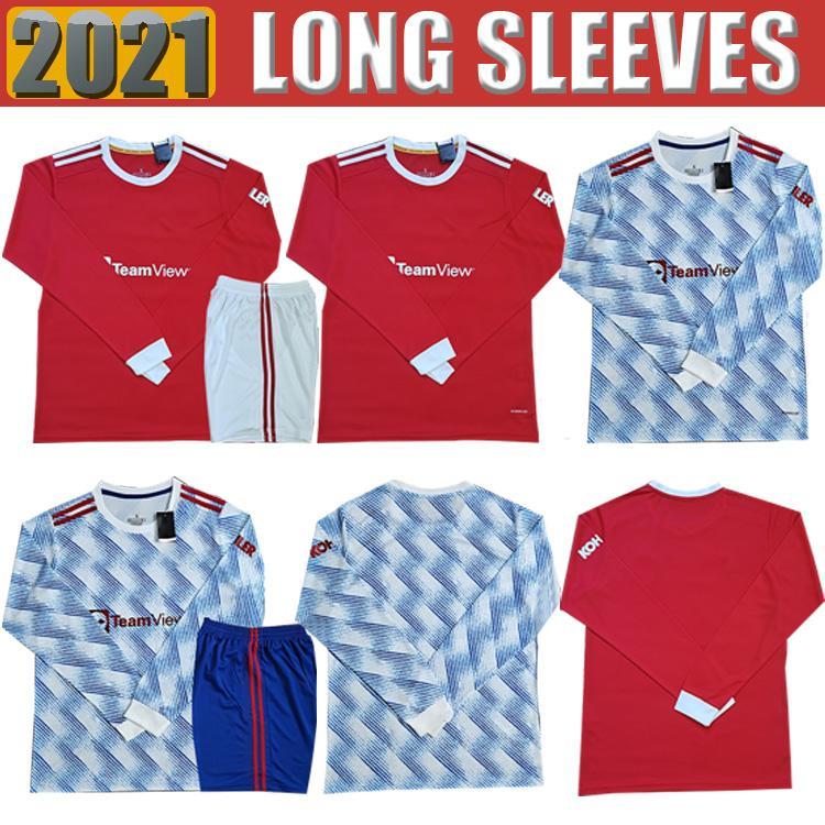 21 22 Manchester Camisas Fãs Veron United Cavani Camiseta Futbol Utd Van de Beek B. Fernandes Rashford Meias Jersey 2021 2022 Camisa de Futebol de Manga Longa