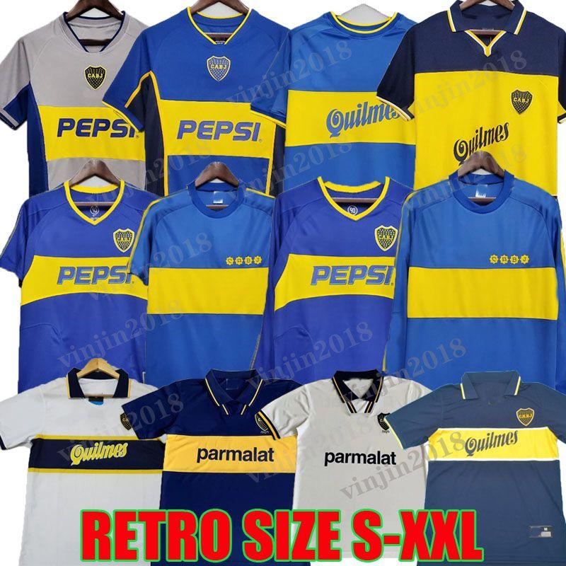 1981 Boca Juniors 레트로 축구 유니폼 긴 소매 1994 1995 1996 1998 1999 2000 2001 2002 2003 2003 Roman Maradona Batistuta 빈티지 클래식 축구 셔츠 97 99