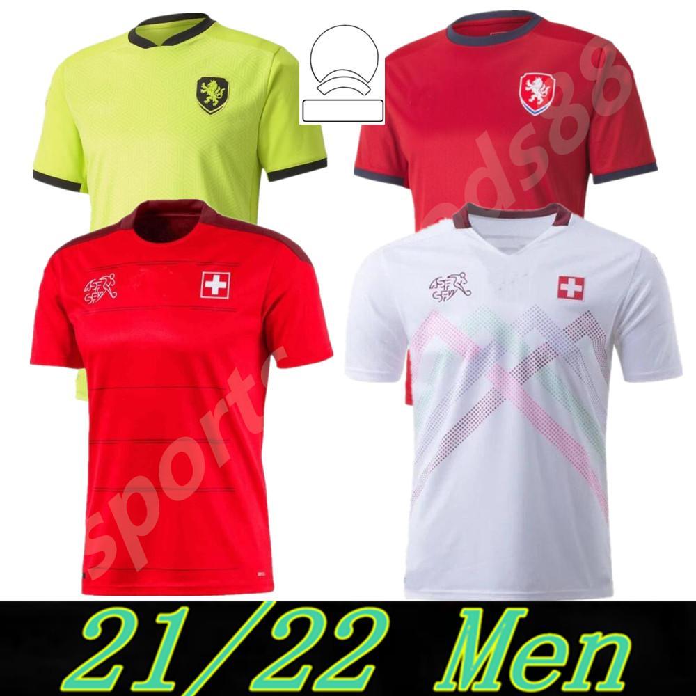 2021 Suíça Soccer Jersey Suisse Versão Versão 20 21 República Checa Jankto Sow Behrami Embolo Seferovic Kaderabek Husbauer Camisas de futebol Fardos