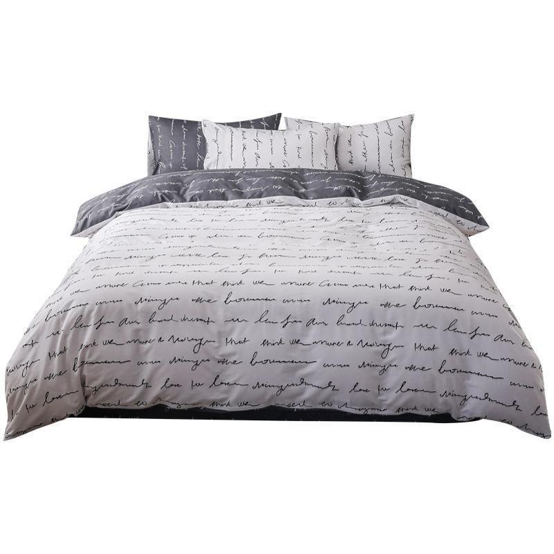 Bettwäsche-Sets Retold und einfache Art-Textil-Bett-Bett-Bett-Deckelkissenbezug vier