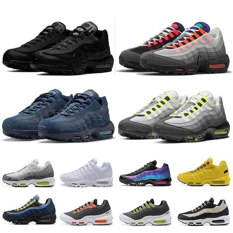 Nik Nk 95 95s Max Air Ayakkabı White Spor Koşu Ayakkabısı Erkek Bayan Mesh Sneaker Greedy Kim Jones Black Yin Yang Orange Laser Fuchsia Navy Blue Neon OG  Klasik Antrenörler