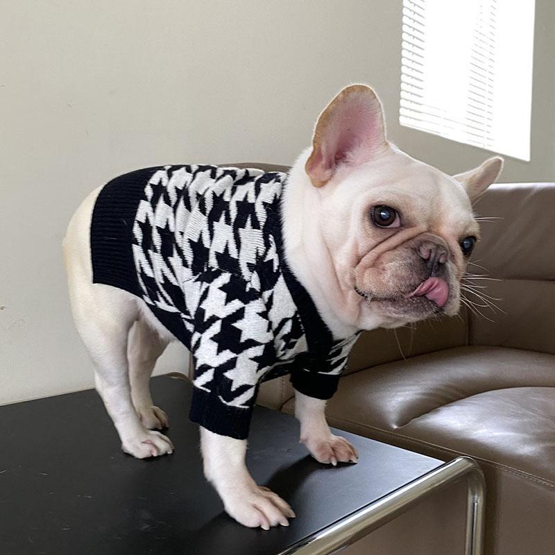 Personalidade jacquard cão vestuário inverno pet suéter ao ar livre suéteres quentes para Teddy Schnauzer Chihuahua