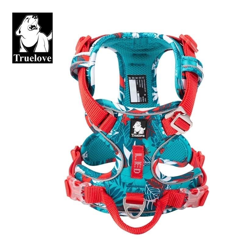Truelove sans harnais de chien Harnais de chien Nylon réfléchissant Soft Soft Harness Harnais pour petits gros chiens Easy Facile d'entraînement en plein air Chiens spéciaux 210729