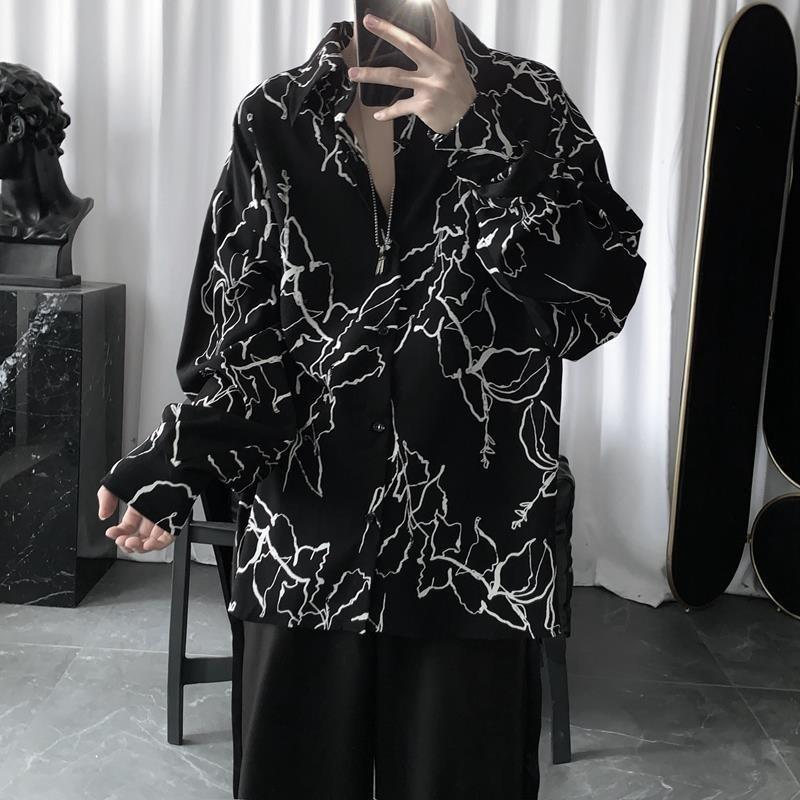 하라주쿠 남성 셔츠 BF 스타일 블라우스 한국어 인쇄 Streetwear 힙합 셔츠 2021 봄 여름 복고풍 커플 탑 블루스 남성 캐주얼