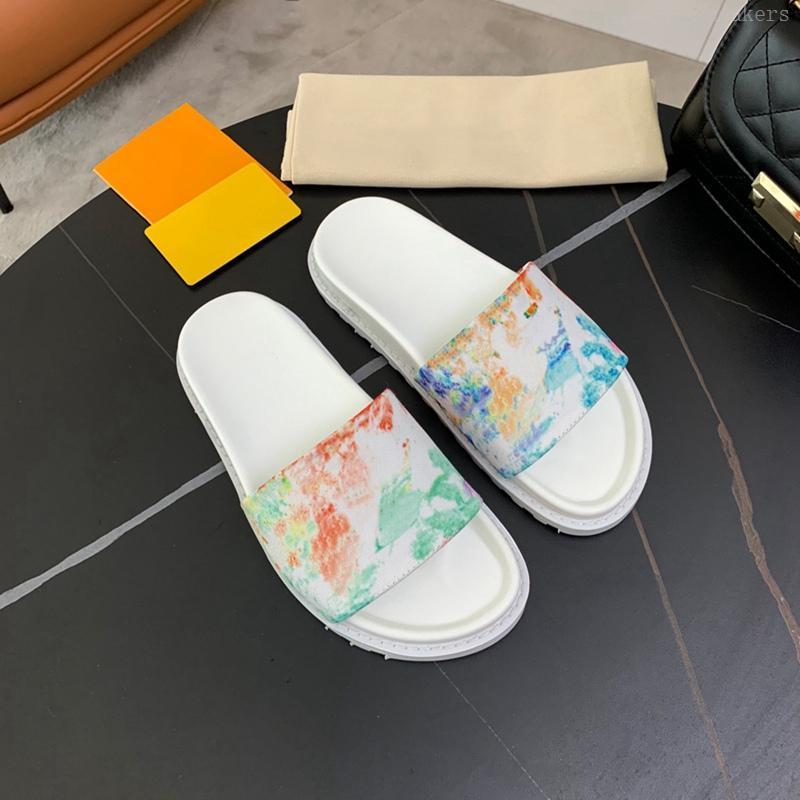 Männer Leder Maultier Multicolor Aquarell Hausschuhe Plattform Slides Herren Mode Flache Gummi Sohle Slipper Casual Flip Flops Sommer Startseite Sandalen Party