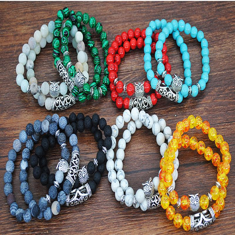 Natural Stone Owl Beaded strands Two Piece Set of Fashion High Quality Jewelry Social Gathering Holiday Gift