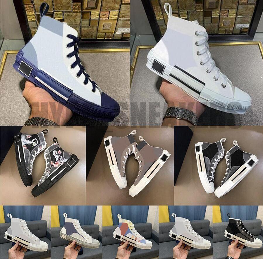 B22 B23 Rahat Ayakkabılar Kadın Erkek Lüks Tasarımcıları Yüksek Düşük Sneakers Eğik Eğitmenler Nakış Baskılı Alfabe Tuval Ayakkabı