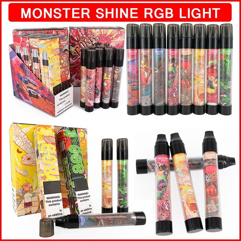 원래 몬스터 샤인 일회용 vape rgb 라이트 전자 담배 800 퍼프 550mAh 3.0ml 프리 퀼트 카트리지 펜 포드 디바이스 cigs