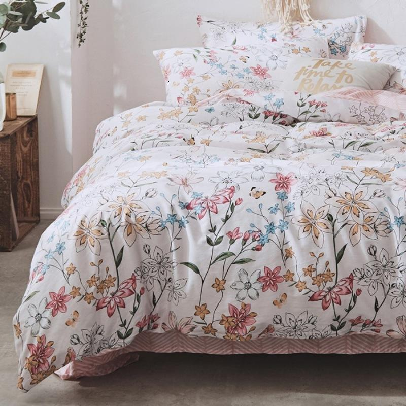 Ins Small Fresh Nordic Style Active Printing Pure All Cotton Pastoral Four Piece Set Bedding