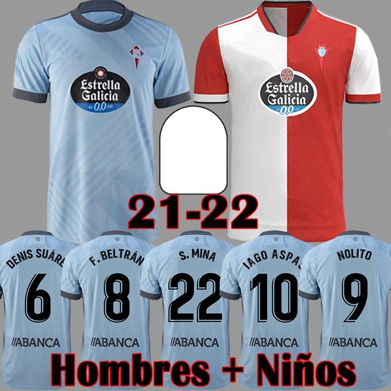 21 22 RC Celta de Vigo Futebol Jerseys Iago Aspas Santi Mina Boufal Camisas de Futebol 2021 2022 Top Quality Men Kit uniforme de crianças