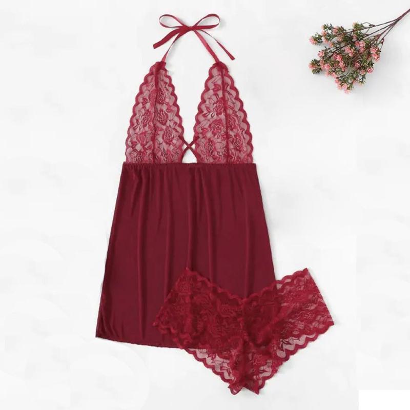BHs Sets Sexy Dessous Frauen Plus Size V-Ausschnitt Backless Halfter Nachthemd Set Unterwäsche Nacht Kleid Tragen Deep S-3XL
