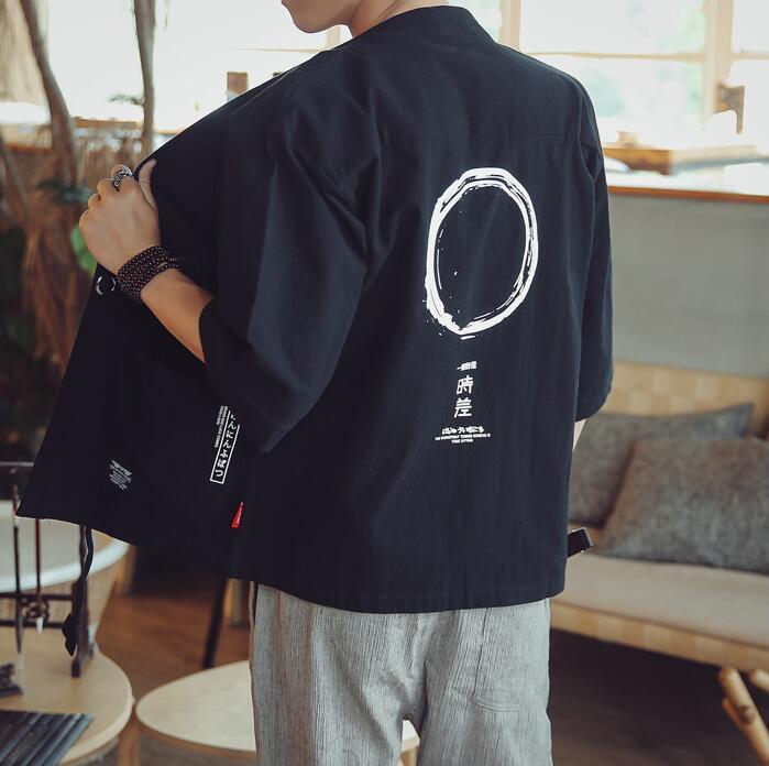 Sommer Vintage Baumwolle Wäsche Kimono Jacke für Männer Plus Größe 5XL Dünn Sonnencreme Cardigan Kimono Mantel Halbhülse Oberbekleidung