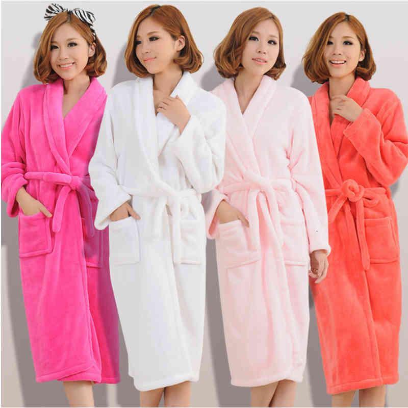 Kadın Erkek Flanel Banyo Robe Pijama Sonbahar Kış Katı Peluş Çift Bornoz Kalın Sıcak Kadın Robe Dropshipping