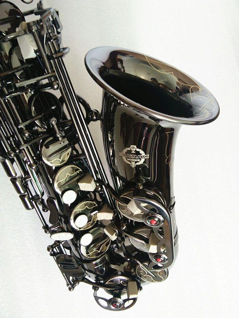 Nouvelle Suzuki Alto Sax Noir Nickel Alto Saxophone Instruments de musique Professionnels Saxophone Tone E SAX AVEC GRATUIT