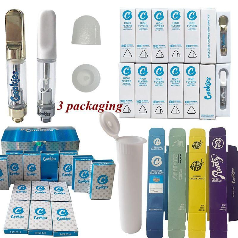 PUSH High Flyer Cookies Carts Vape Cartridge Packaging Atomizers 0.8ml 1ml Ceramic Empty Vapes Pen Wax Atomizer For 510 Thread Dab Vaporizer