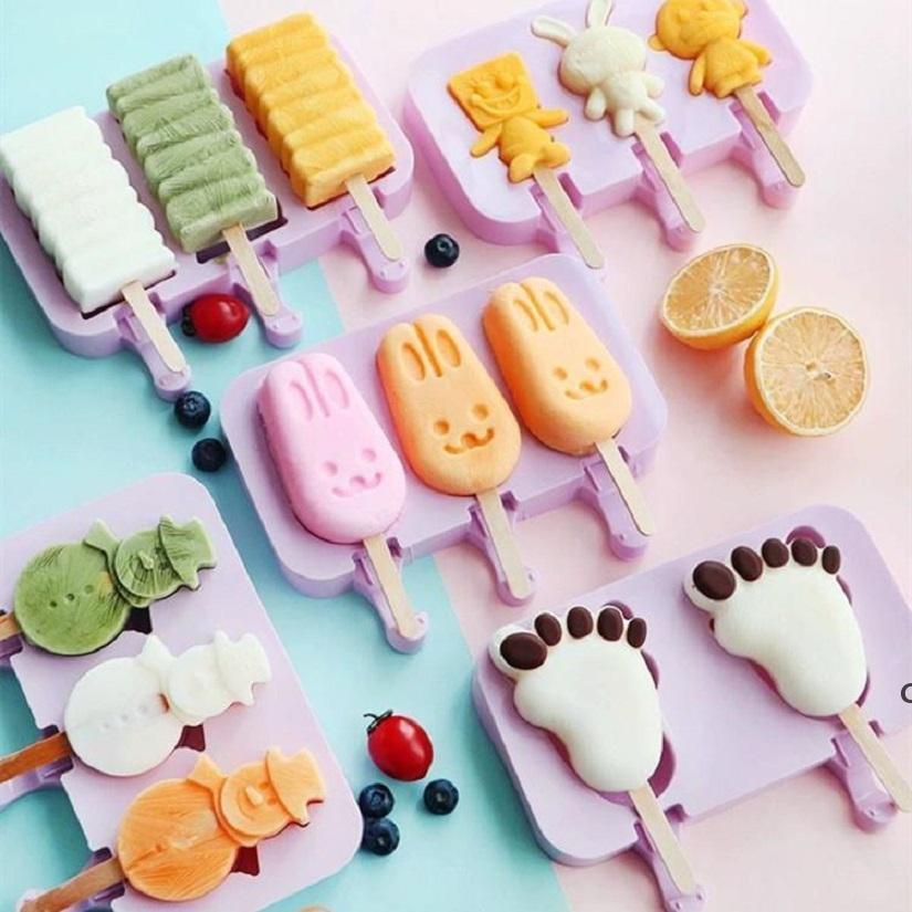 DIY Dondurma Silikon Kalıpları Çocuklar Hayvanlar Ev Yapımı Popsicle Kalıpları Çocuklar için Sevimli Karikatür Buz-Lolly Kalıp Dondurma Araçları DHF6068