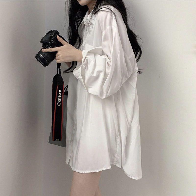 E-Baihui Chic сплошные рубашки с длинным рукавом блузка плюс рубашки размеров негабаритные белые блузки Maxi Boyries Chemisier