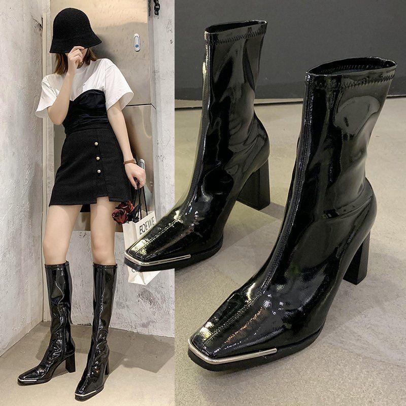 Bayan Çizmeler Metal Kare Streç Çizmeler Patent Deri Tek Kısa Savaş Botları Kadın Punk Ayakkabı Diz Yüksek Topuklu