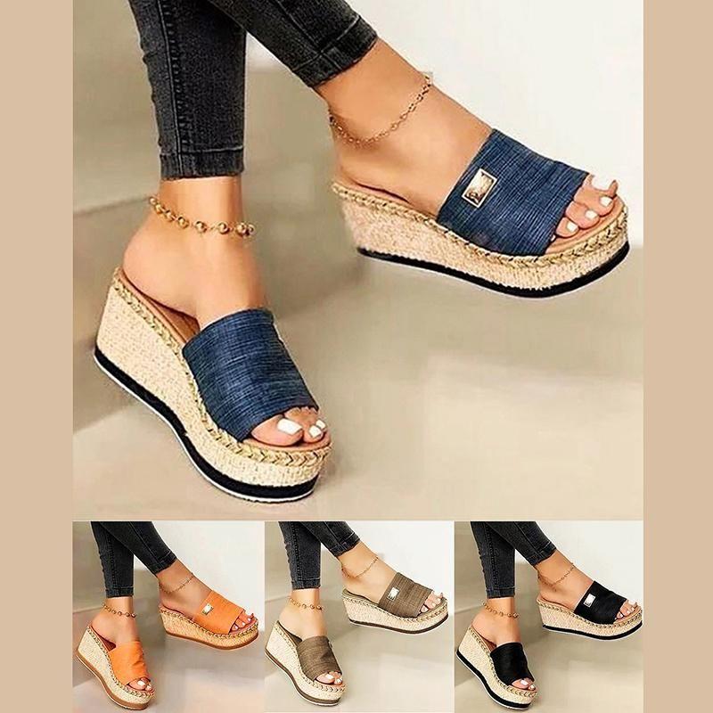 Bayan Yüksek Topuklu Sandal Kalın Alt Rahat Ayakkabılar Bayanlar Eğlence Yaz Takozlar Sandalet Kadın Kadın Platformu Katır Terlik Elbise