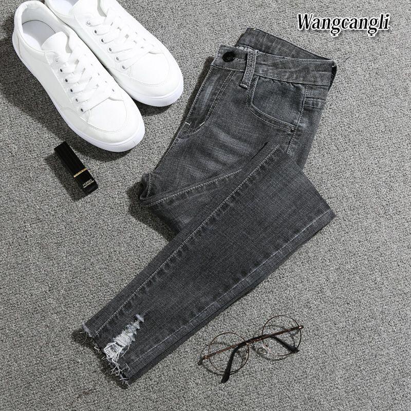 2021 Primavera ed Estate New Fashion Plus Size Piedi Piedi Jeans Vita alta Girls Nine Pants Jeans per le donne 016 #