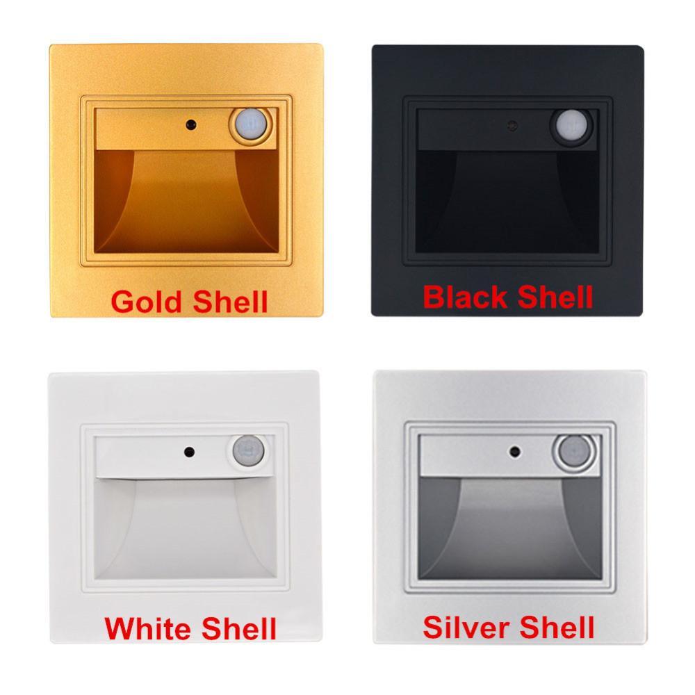 1.5W 벽 램프 recessed LED 계단 빛 AC85-265V 복도 LED 스텝 조명 밤 램프 욕실 현관 실내 및 야외 통로 장식 조명