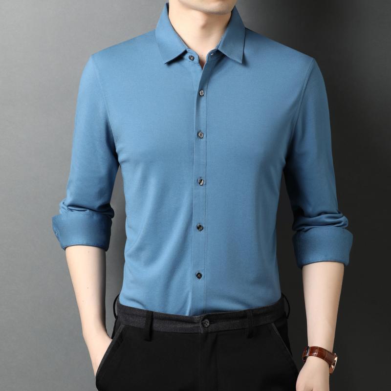 라이트 블루 오피스 블라우스 실크 버튼 다운 셔츠 망 큰 크기 정식 Claret 부드러운 새틴 블랙 작업 클래식 의류 남성 캐주얼 셔츠