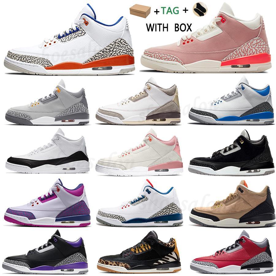 2021 Erkekler Jumpman 3 3 S Basketbol Ayakkabıları Georgetown Pas Pembe Lazer Turuncu Paslı Knicks Eğitmenler Erkek Parçası Rakipler Retro Denim Yangın Sporları Sneaker # 52