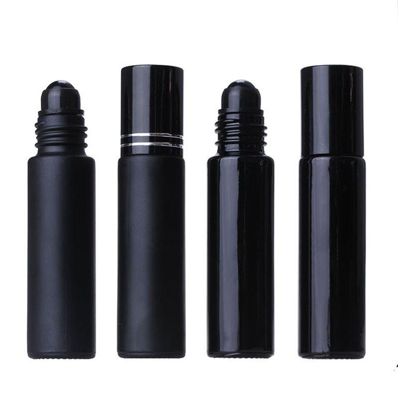 Rolo de vidro do vidro essencial preto do óleo de 10ml em frascos de bola de cristal do perfume