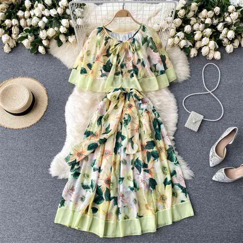 Europa stile estate elegante donna manica corta stampa floreale stampa moda festa vestito femminile abiti da donna 210428