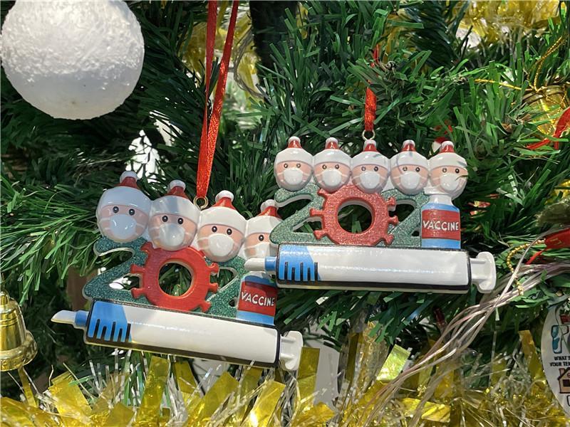 2021 Noel Ağacı Dekorasyon Noel Süs Ürünü Kişiselleştirilmiş Aile 1-9 Kolye Pandemik Şırınga Festivali Hediye Ile