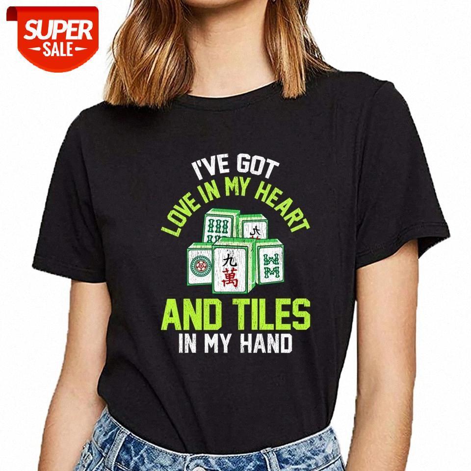 T-shirt mulheres mahjong jogo engraçado citação de telha citação cópia cópia feminina festa # li7l